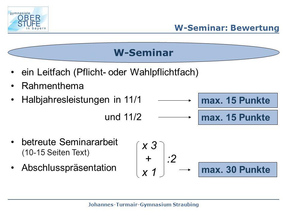 Johannes-Turmair-Gymnasium Straubing ein Leitfach (Pflicht- oder Wahlpflichtfach) Rahmenthema Halbjahresleistungen in 11/1 und 11/2 betreute Seminararbeit (10-15 Seiten Text) Abschlusspräsentation W-Seminar max.