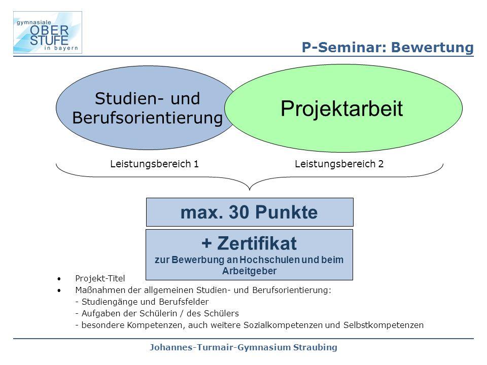Johannes-Turmair-Gymnasium Straubing Studien- und Berufsorientierung Projektarbeit max. 30 Punkte P-Seminar: Bewertung Leistungsbereich 1 Leistungsber