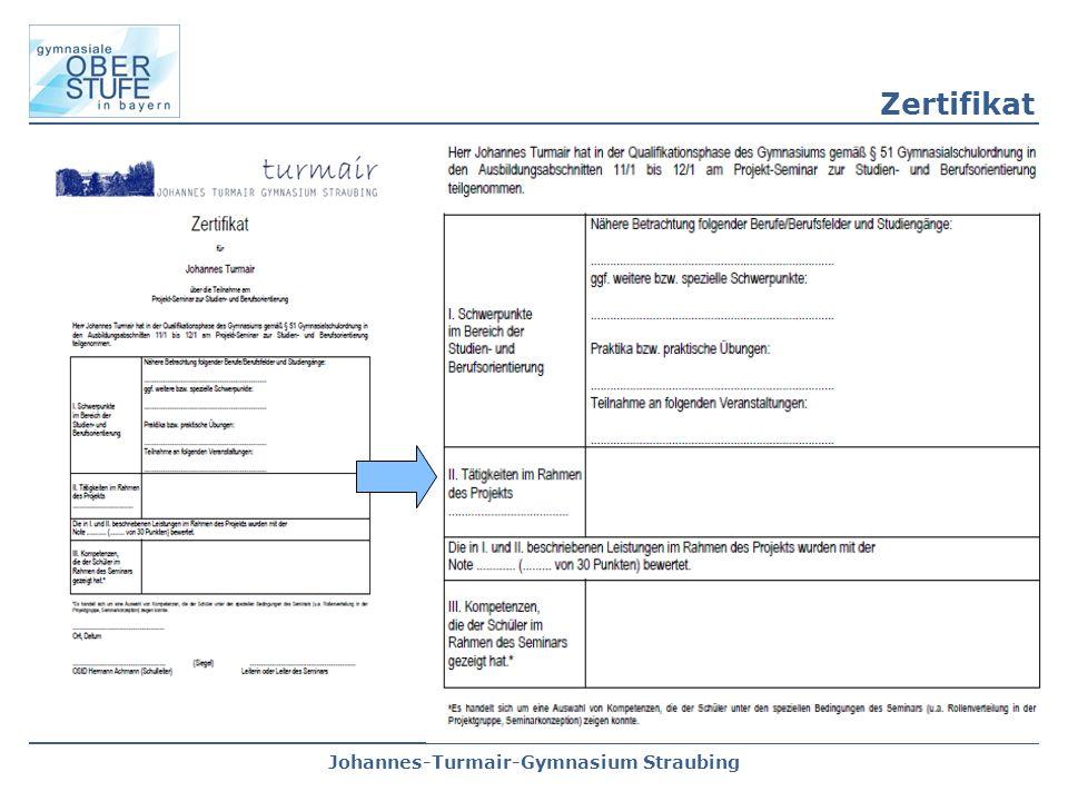 Johannes-Turmair-Gymnasium Straubing Zertifikat