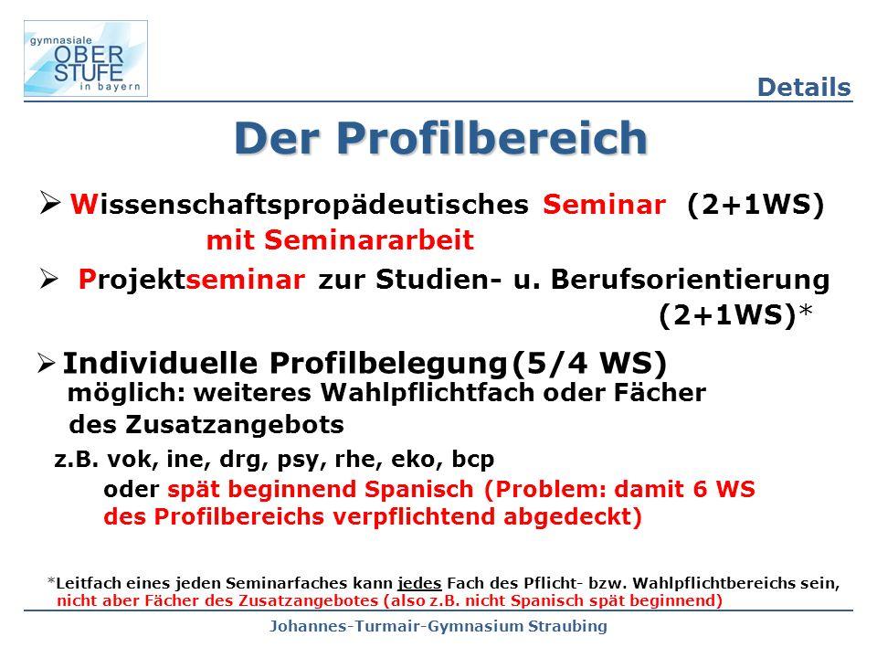 Johannes-Turmair-Gymnasium Straubing Der Profilbereich  Wissenschaftspropädeutisches Seminar (2+1WS) mit Seminararbeit  Projektseminar zur Studien- u.