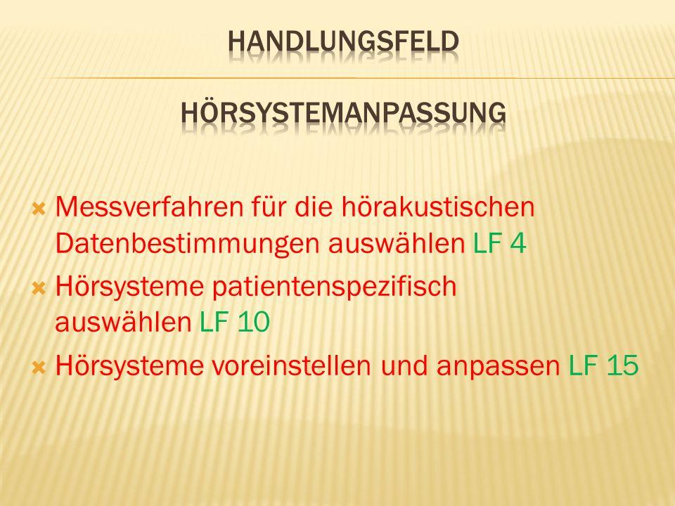  Messverfahren für die hörakustischen Datenbestimmungen auswählen LF 4  Hörsysteme patientenspezifisch auswählen LF 10  Hörsysteme voreinstellen und anpassen LF 15