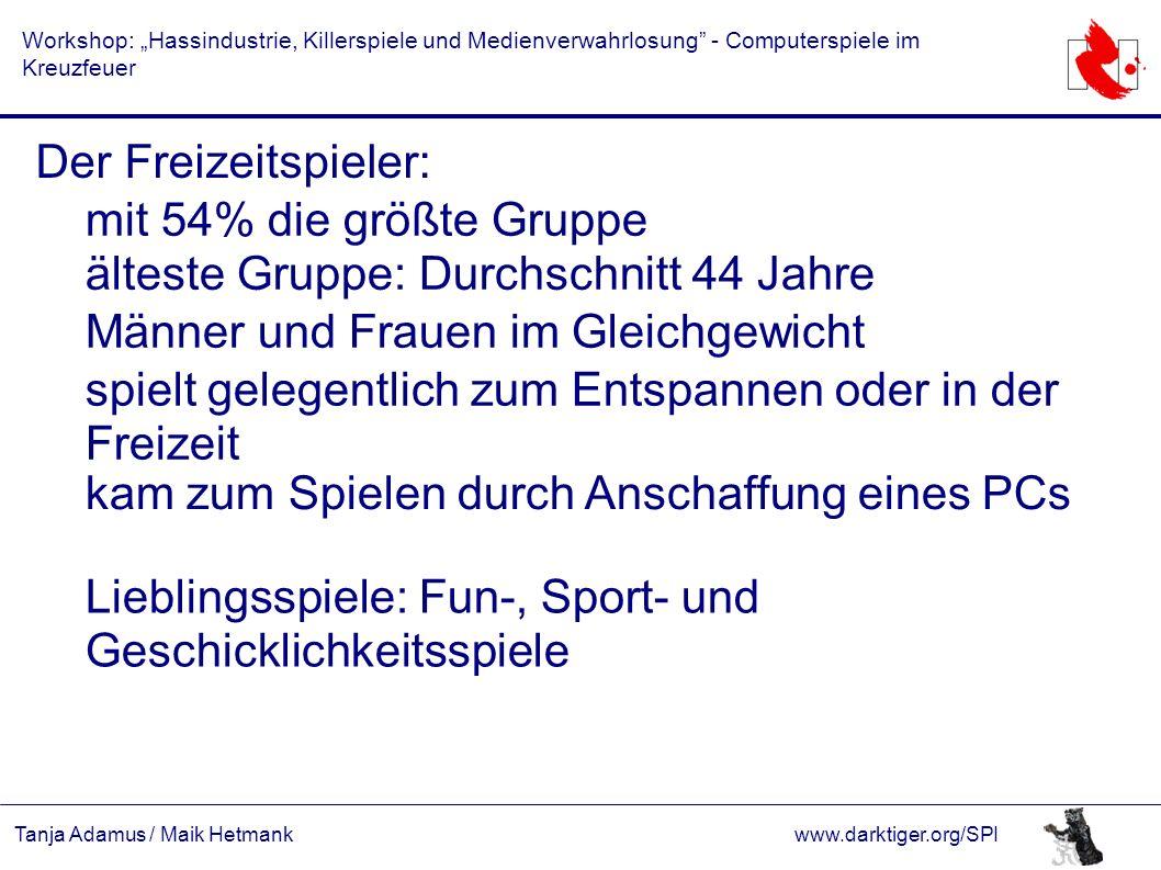 """Tanja Adamus / Maik Hetmankwww.darktiger.org/SPI Workshop: """"Hassindustrie, Killerspiele und Medienverwahrlosung"""" - Computerspiele im Kreuzfeuer Der Fr"""