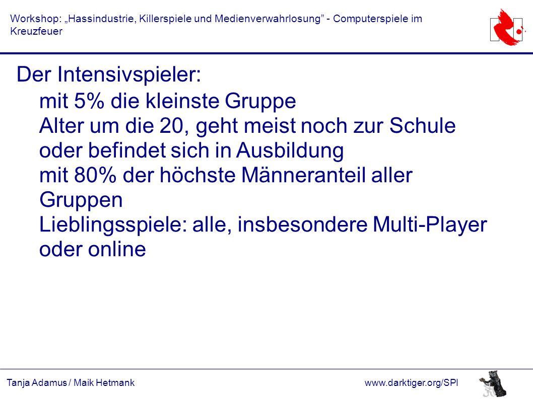 """Tanja Adamus / Maik Hetmankwww.darktiger.org/SPI Workshop: """"Hassindustrie, Killerspiele und Medienverwahrlosung"""" - Computerspiele im Kreuzfeuer Der In"""