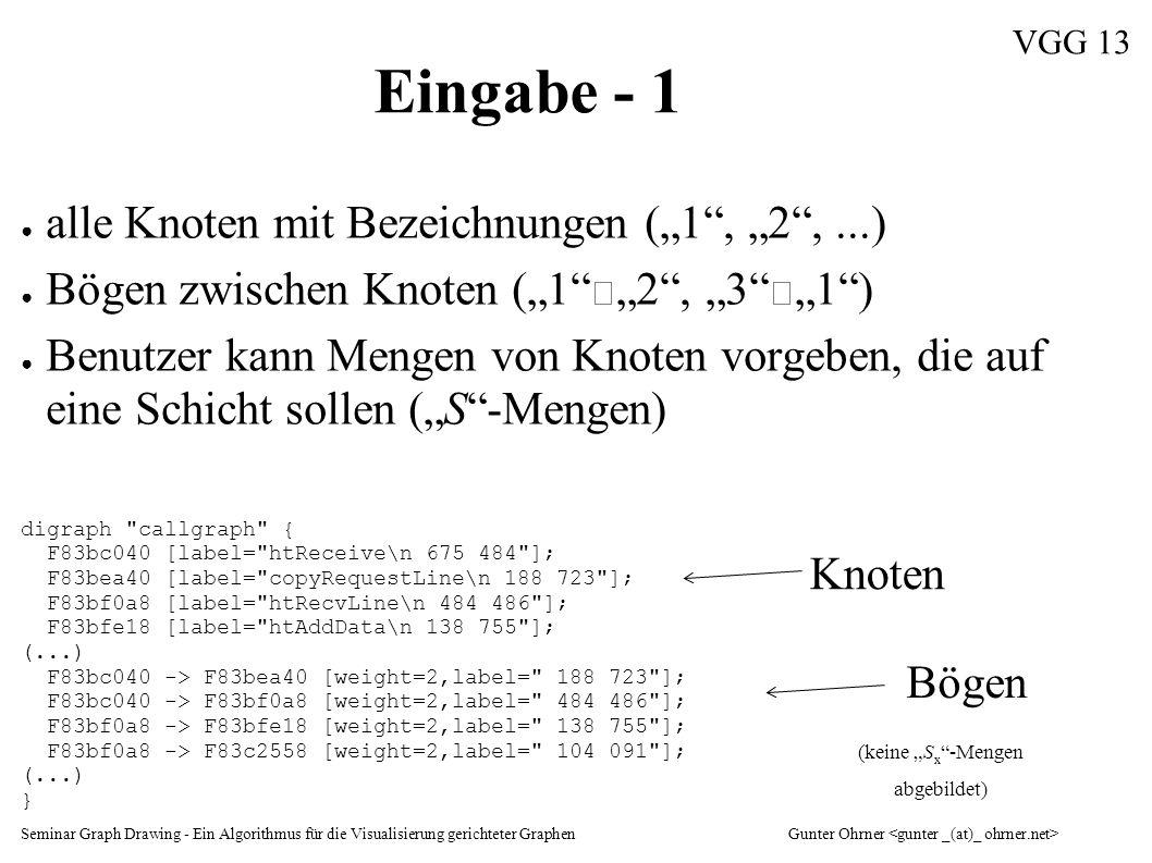 """Seminar Graph Drawing - Ein Algorithmus für die Visualisierung gerichteter GraphenGunter Ohrner VGG 13 Eingabe - 1 ● alle Knoten mit Bezeichnungen (""""1"""
