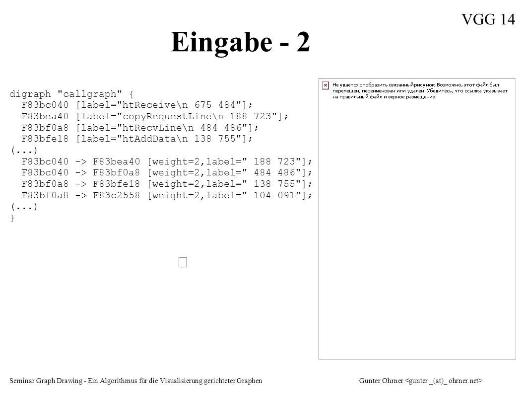 Seminar Graph Drawing - Ein Algorithmus für die Visualisierung gerichteter GraphenGunter Ohrner VGG 14 Eingabe - 2 digraph