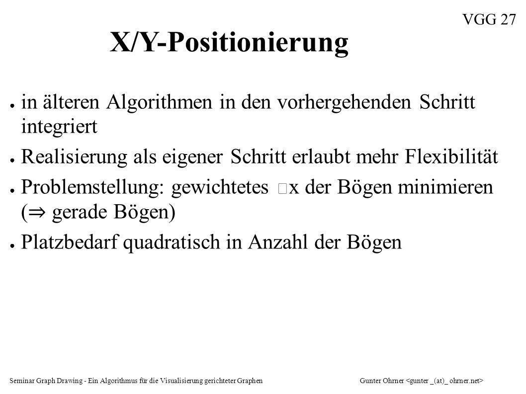 Seminar Graph Drawing - Ein Algorithmus für die Visualisierung gerichteter GraphenGunter Ohrner VGG 27 X/Y-Positionierung ● in älteren Algorithmen in