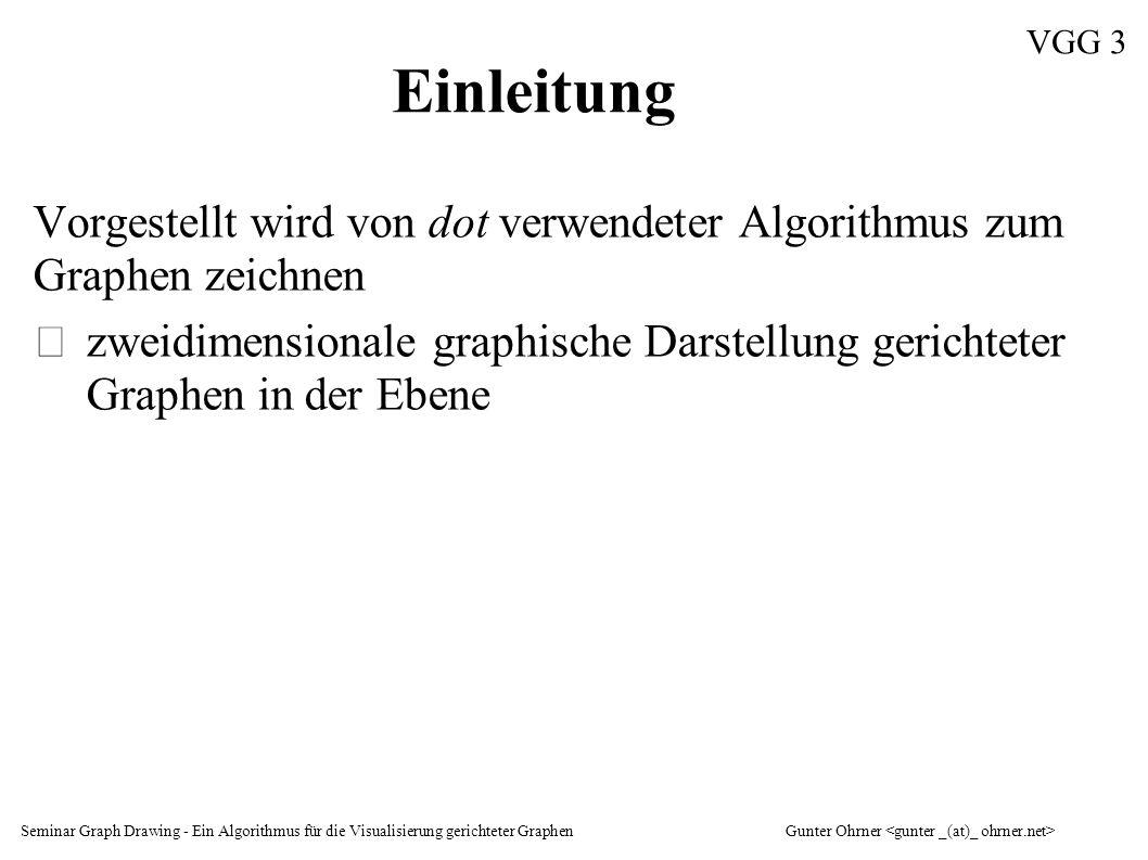 Seminar Graph Drawing - Ein Algorithmus für die Visualisierung gerichteter GraphenGunter Ohrner VGG 14 Eingabe - 2 digraph callgraph { F83bc040 [label= htReceive\n 675 484 ]; F83bea40 [label= copyRequestLine\n 188 723 ]; F83bf0a8 [label= htRecvLine\n 484 486 ]; F83bfe18 [label= htAddData\n 138 755 ]; (...) F83bc040 -> F83bea40 [weight=2,label= 188 723 ]; F83bc040 -> F83bf0a8 [weight=2,label= 484 486 ]; F83bf0a8 -> F83bfe18 [weight=2,label= 138 755 ]; F83bf0a8 -> F83c2558 [weight=2,label= 104 091 ]; (...) }