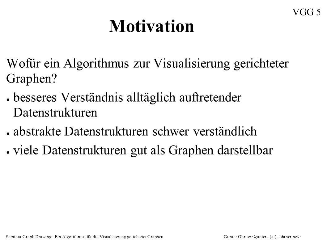 Seminar Graph Drawing - Ein Algorithmus für die Visualisierung gerichteter GraphenGunter Ohrner VGG 16 Schichtung der Knoten Zielkriterien erfüllen, z.B.