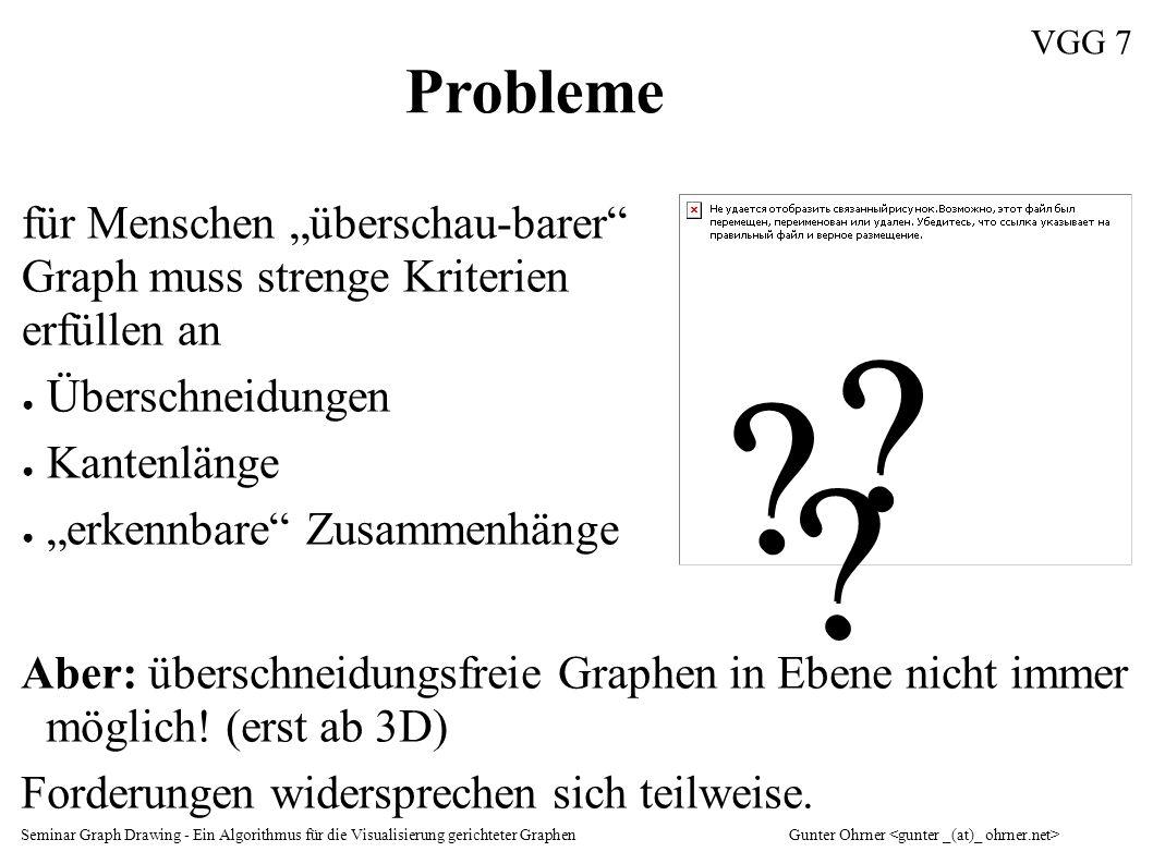 """Seminar Graph Drawing - Ein Algorithmus für die Visualisierung gerichteter GraphenGunter Ohrner VGG 7 für Menschen """"überschau-barer"""" Graph muss streng"""