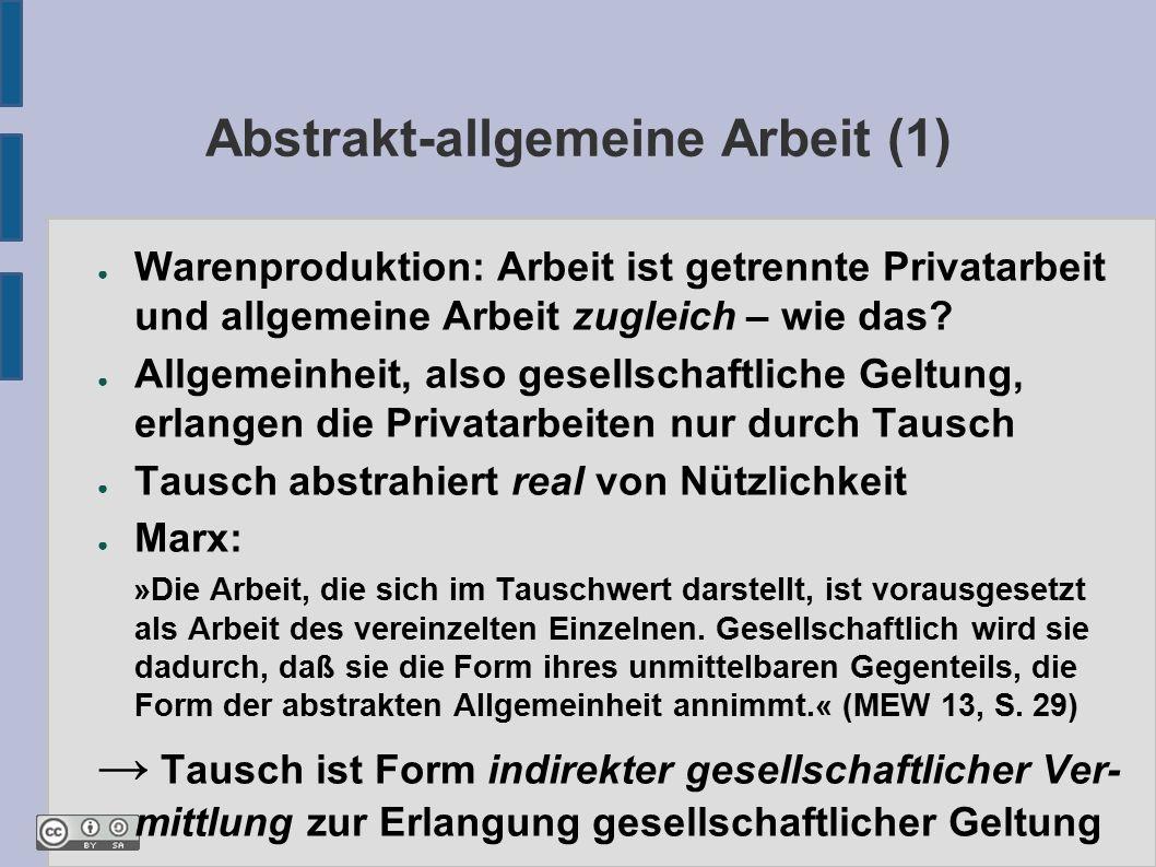 Abstrakt-allgemeine Arbeit (1) ● Warenproduktion: Arbeit ist getrennte Privatarbeit und allgemeine Arbeit zugleich – wie das.