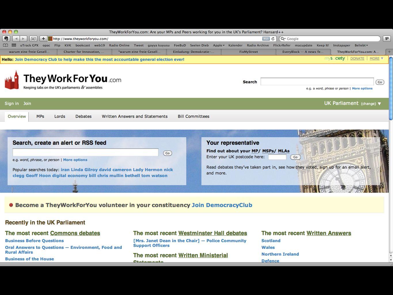 Open Data Abgeordneten-Watch theyworkforyou.com fixmystreet.com werdenktwas.de