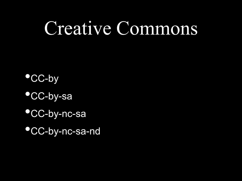 CC-by CC-by-sa CC-by-nc-sa CC-by-nc-sa-nd