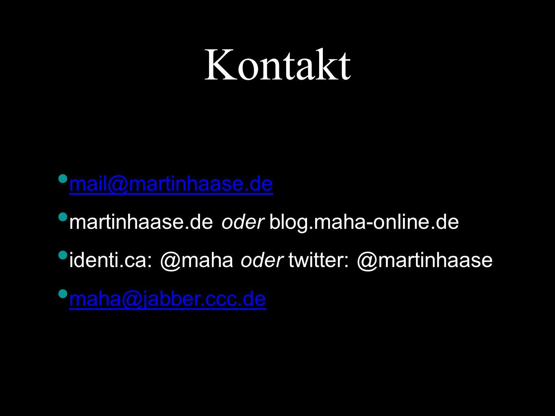 Kontakt mail@martinhaase.de martinhaase.de oder blog.maha-online.de identi.ca: @maha oder twitter: @martinhaase maha@jabber.ccc.de