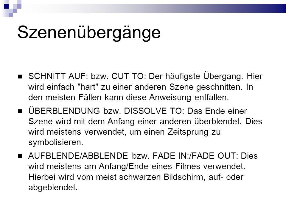 Szenenübergänge SCHNITT AUF: bzw. CUT TO: Der häufigste Übergang.