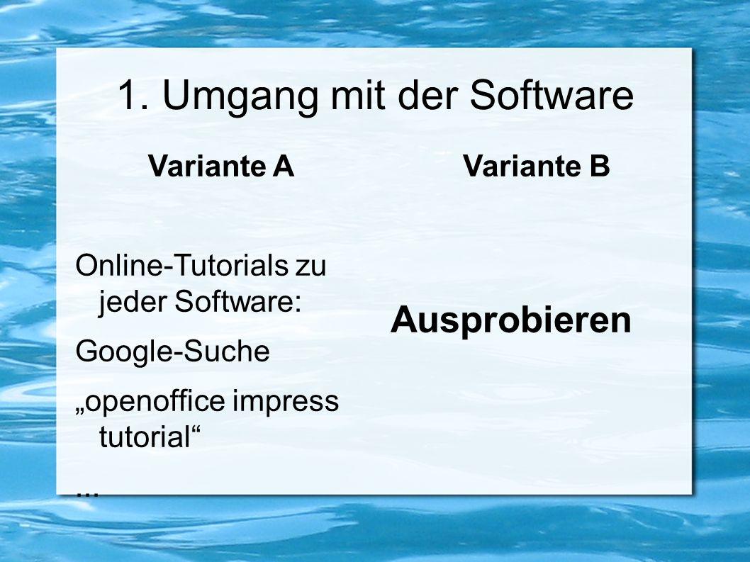 """1. Umgang mit der Software Variante A Online-Tutorials zu jeder Software: Google-Suche """"openoffice impress tutorial""""... Variante B Ausprobieren"""