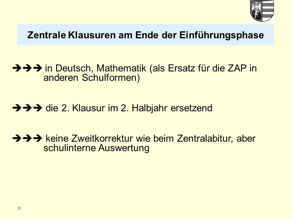 12  in Deutsch, Mathematik (als Ersatz für die ZAP in anderen Schulformen)  die 2.