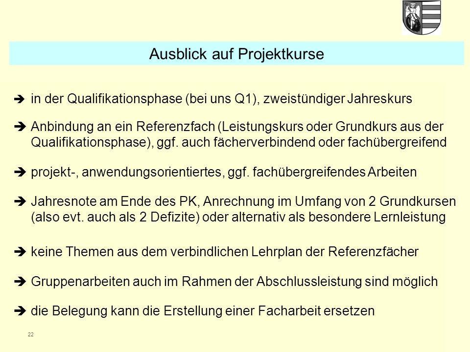 22  in der Qualifikationsphase (bei uns Q1), zweistündiger Jahreskurs  Anbindung an ein Referenzfach (Leistungskurs oder Grundkurs aus der Qualifikationsphase), ggf.