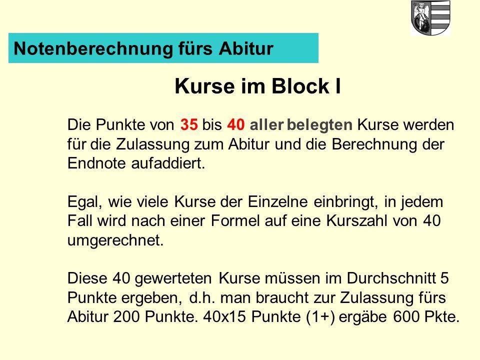Notenberechnung fürs Abitur Kurse im Block I Die Punkte von 35 bis 40 aller belegten Kurse werden für die Zulassung zum Abitur und die Berechnung der Endnote aufaddiert.