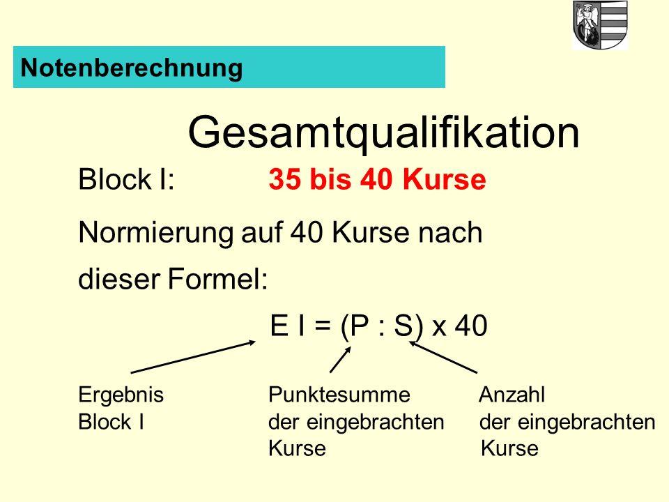 Notenberechnung Gesamtqualifikation Block I:35 bis 40 Kurse Normierung auf 40 Kurse nach dieser Formel: E I = (P : S) x 40 ErgebnisPunktesumme Anzahl Block Ider eingebrachtender eingebrachten Kurse