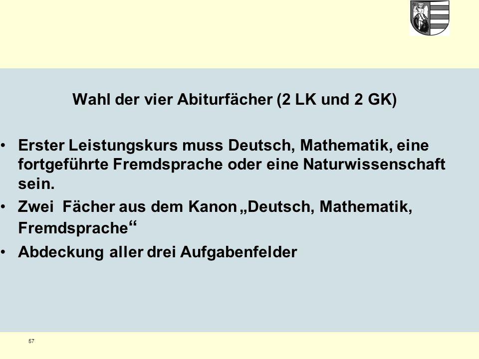 57 Wahl der vier Abiturfächer (2 LK und 2 GK) Erster Leistungskurs muss Deutsch, Mathematik, eine fortgeführte Fremdsprache oder eine Naturwissenschaft sein.