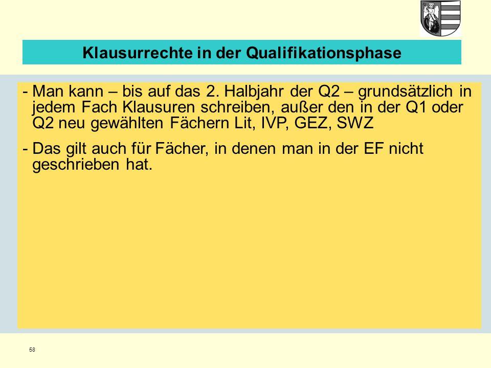 58 Klausurrechte in der Qualifikationsphase -Man kann – bis auf das 2.
