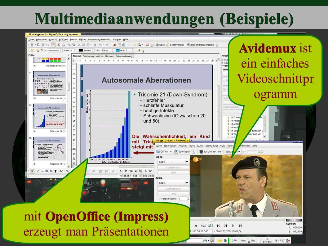 Multimediaanwendungen (Beispiele) OpenOffice (Impress) mit OpenOffice (Impress) erzeugt man Präsentationen Avidemux Avidemux ist ein einfaches Videoschnittpr ogramm