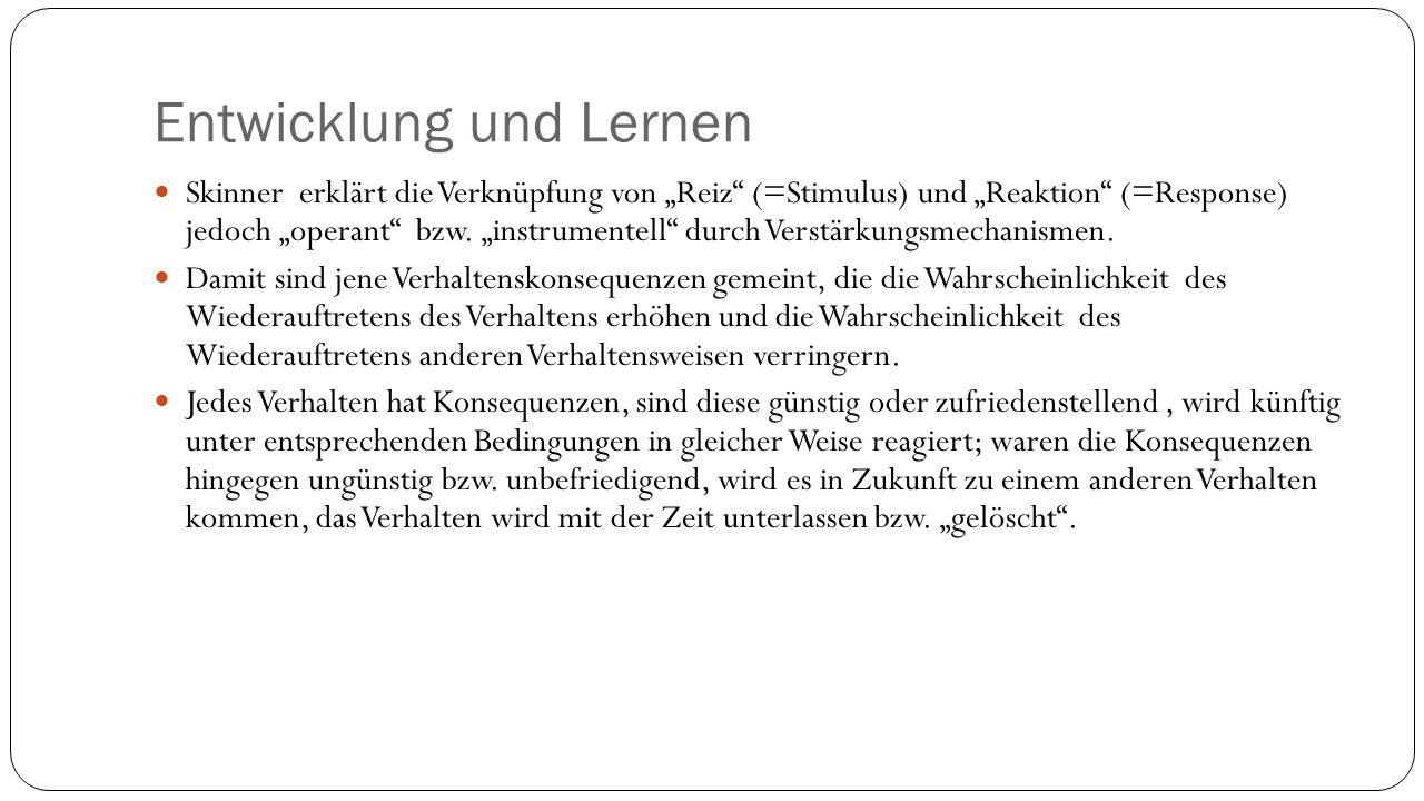"""Entwicklung und Lernen Skinner erklärt die Verknüpfung von """"Reiz (=Stimulus) und """"Reaktion (=Response) jedoch """"operant bzw."""