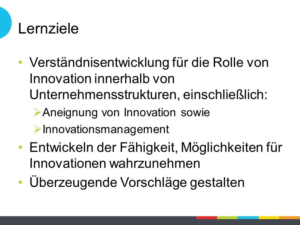 Lernziele Verständnisentwicklung für die Rolle von Innovation innerhalb von Unternehmensstrukturen, einschließlich:  Aneignung von Innovation sowie  Innovationsmanagement Entwickeln der Fähigkeit, Möglichkeiten für Innovationen wahrzunehmen Überzeugende Vorschläge gestalten