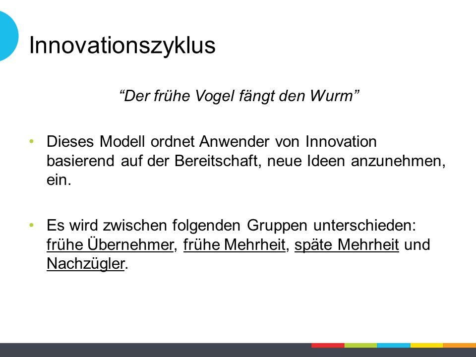 Innovationszyklus Der frühe Vogel fängt den Wurm Dieses Modell ordnet Anwender von Innovation basierend auf der Bereitschaft, neue Ideen anzunehmen, ein.