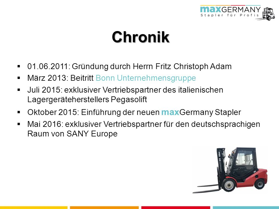 max GERMANY Stapler für Profis maxGermany GmbH Industriestraße 6, 91126 Schwabach.