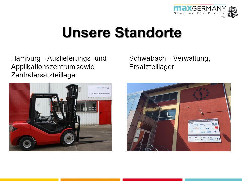 Unsere Standorte Hamburg – Auslieferungs- und Applikationszentrum sowie Zentralersatzteillager Schwabach – Verwaltung, Ersatzteillager