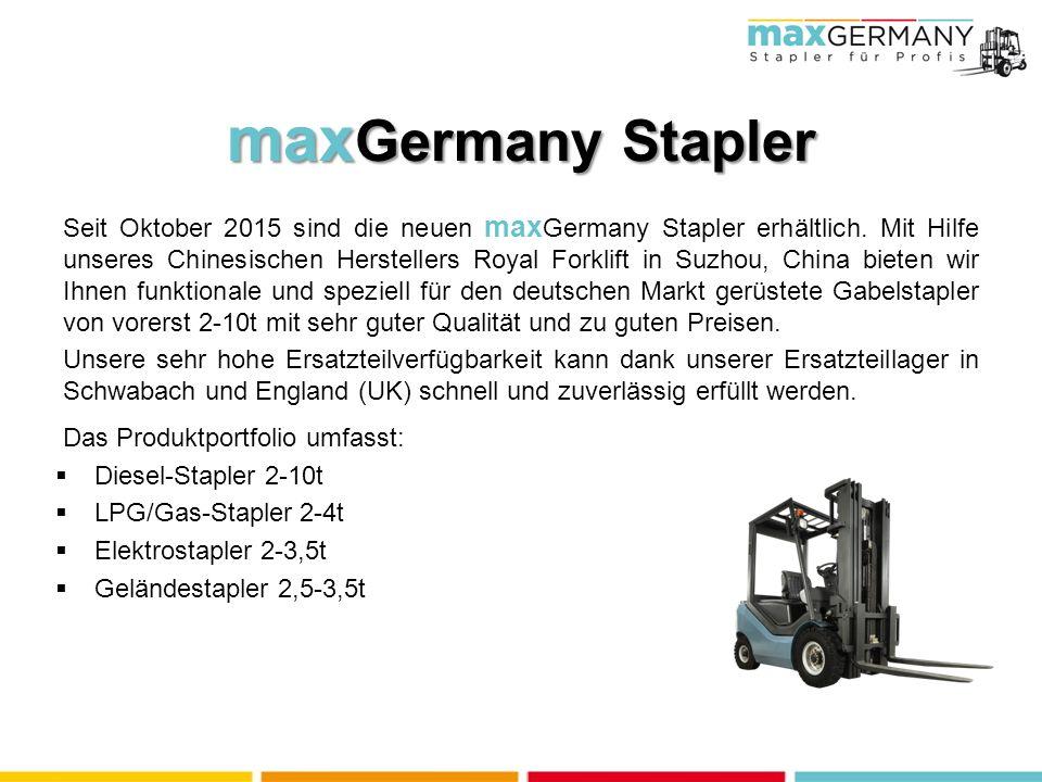 Seit Oktober 2015 sind die neuen max Germany Stapler erhältlich.