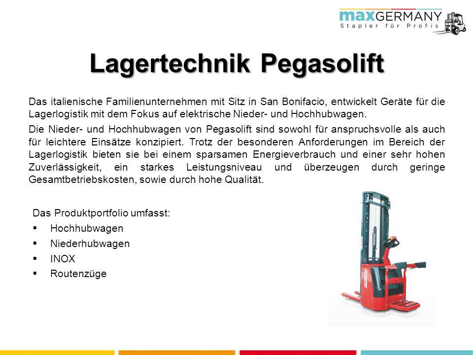 Lagertechnik Pegasolift Das italienische Familienunternehmen mit Sitz in San Bonifacio, entwickelt Geräte für die Lagerlogistik mit dem Fokus auf elektrische Nieder- und Hochhubwagen.
