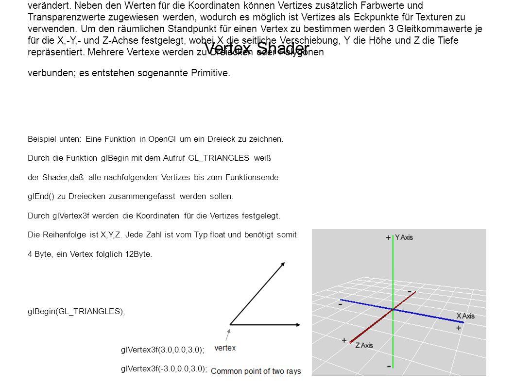 Vertex Shader Für jedes Polygon werden Information über die Eckpunkte (Vektoren) benötigt. Vertex-Shader sind Einheiten in der GPU und lesen und speic