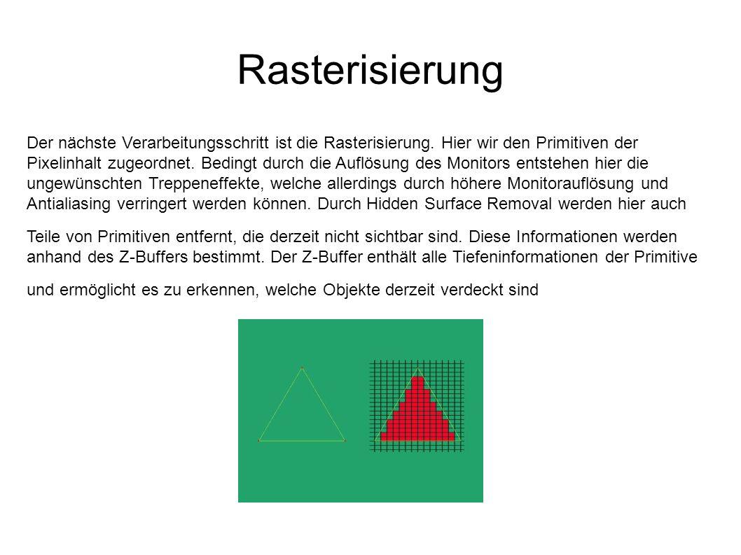 Rasterisierung Der nächste Verarbeitungsschritt ist die Rasterisierung. Hier wir den Primitiven der Pixelinhalt zugeordnet. Bedingt durch die Auflösun