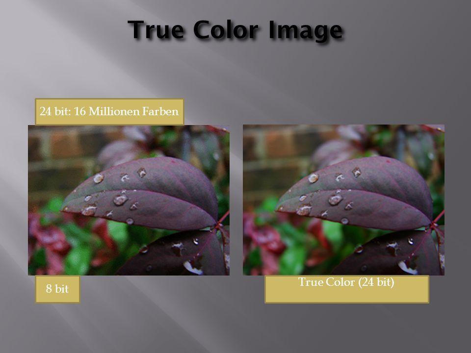 True Color Image True Color (24 bit) 24 bit: 16 Millionen Farben 8 bit