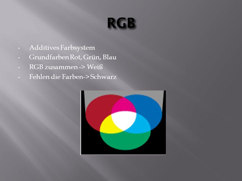 RGB Additives Farbsystem Grundfarben Rot, Grün, Blau RGB zusammen -> Weiß Fehlen die Farben-> Schwarz