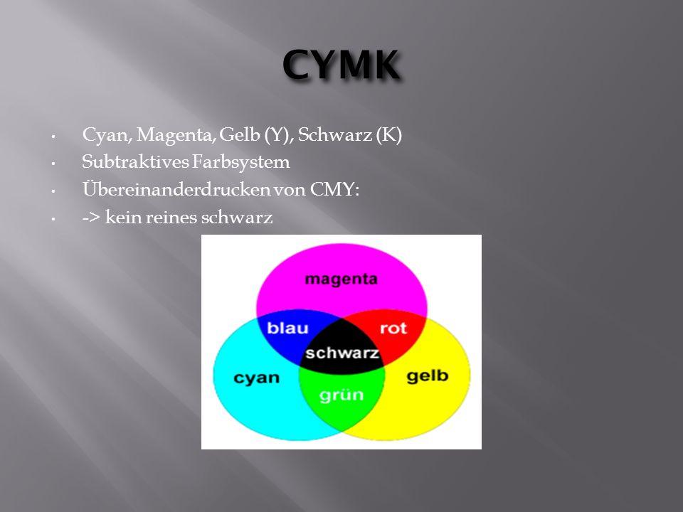 CYMK Cyan, Magenta, Gelb (Y), Schwarz (K) Subtraktives Farbsystem Übereinanderdrucken von CMY: -> kein reines schwarz