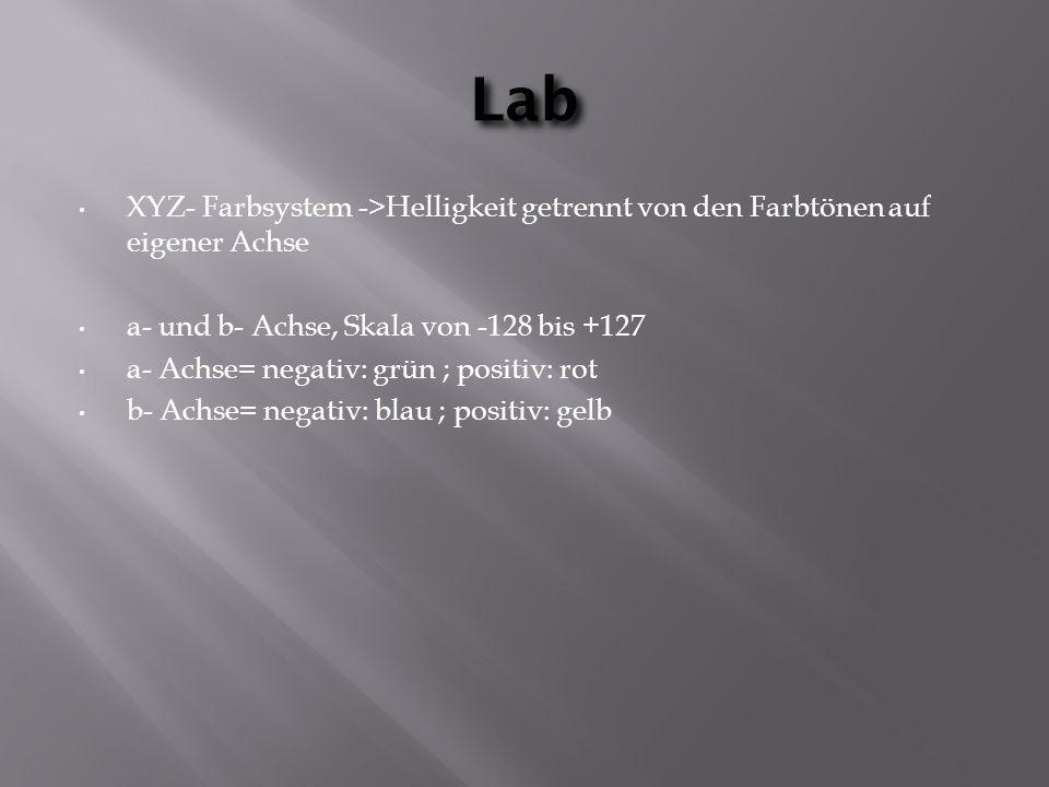 Lab XYZ- Farbsystem ->Helligkeit getrennt von den Farbtönen auf eigener Achse a- und b- Achse, Skala von -128 bis +127 a- Achse= negativ: grün ; positiv: rot b- Achse= negativ: blau ; positiv: gelb