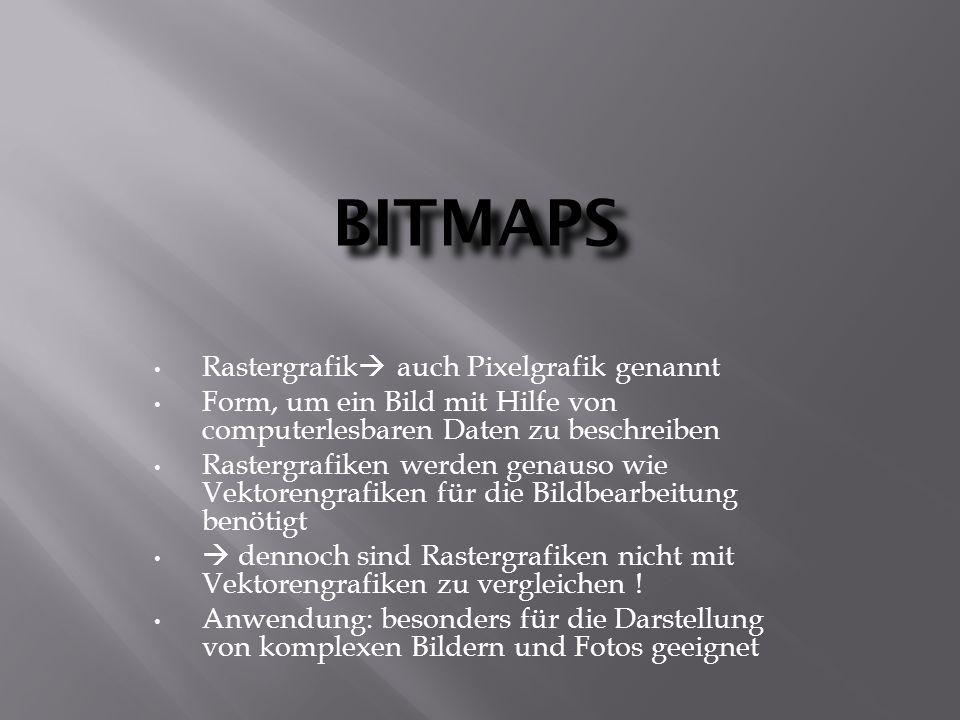 BITMAPS Rastergrafik  auch Pixelgrafik genannt Form, um ein Bild mit Hilfe von computerlesbaren Daten zu beschreiben Rastergrafiken werden genauso wie Vektorengrafiken für die Bildbearbeitung benötigt  dennoch sind Rastergrafiken nicht mit Vektorengrafiken zu vergleichen .