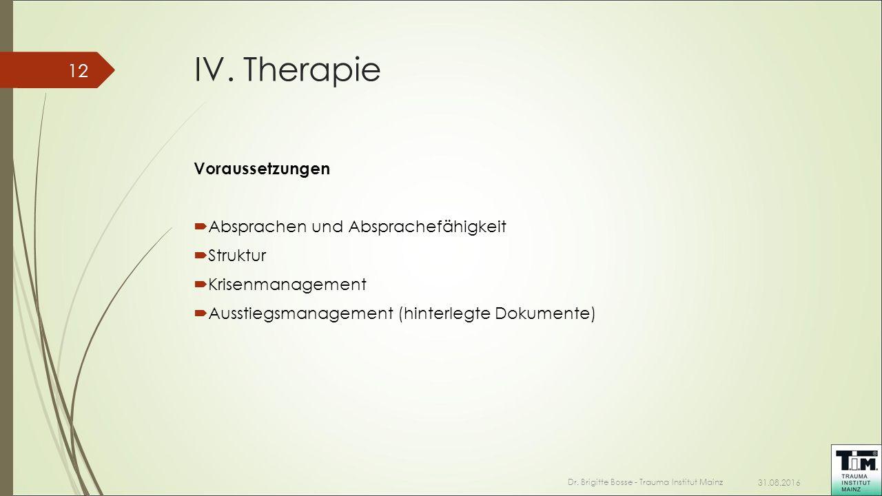 IV. Therapie Voraussetzungen  Absprachen und Absprachefähigkeit  Struktur  Krisenmanagement  Ausstiegsmanagement (hinterlegte Dokumente) 31.08.201