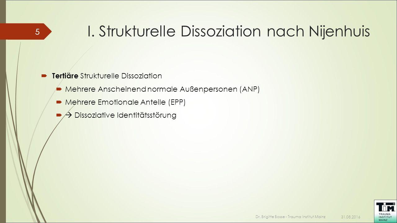 I. Strukturelle Dissoziation nach Nijenhuis 31.08.2016 Dr. Brigitte Bosse - Trauma Institut Mainz 5  Tertiäre Strukturelle Dissoziation  Mehrere Ans