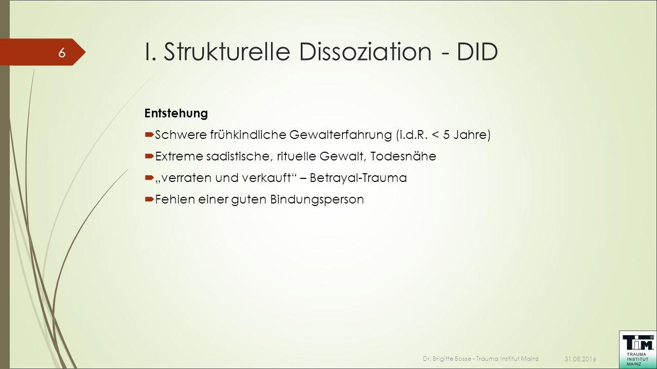 I. Strukturelle Dissoziation - DID Entstehung  Schwere frühkindliche Gewalterfahrung (i.d.R. < 5 Jahre)  Extreme sadistische, rituelle Gewalt, Todes