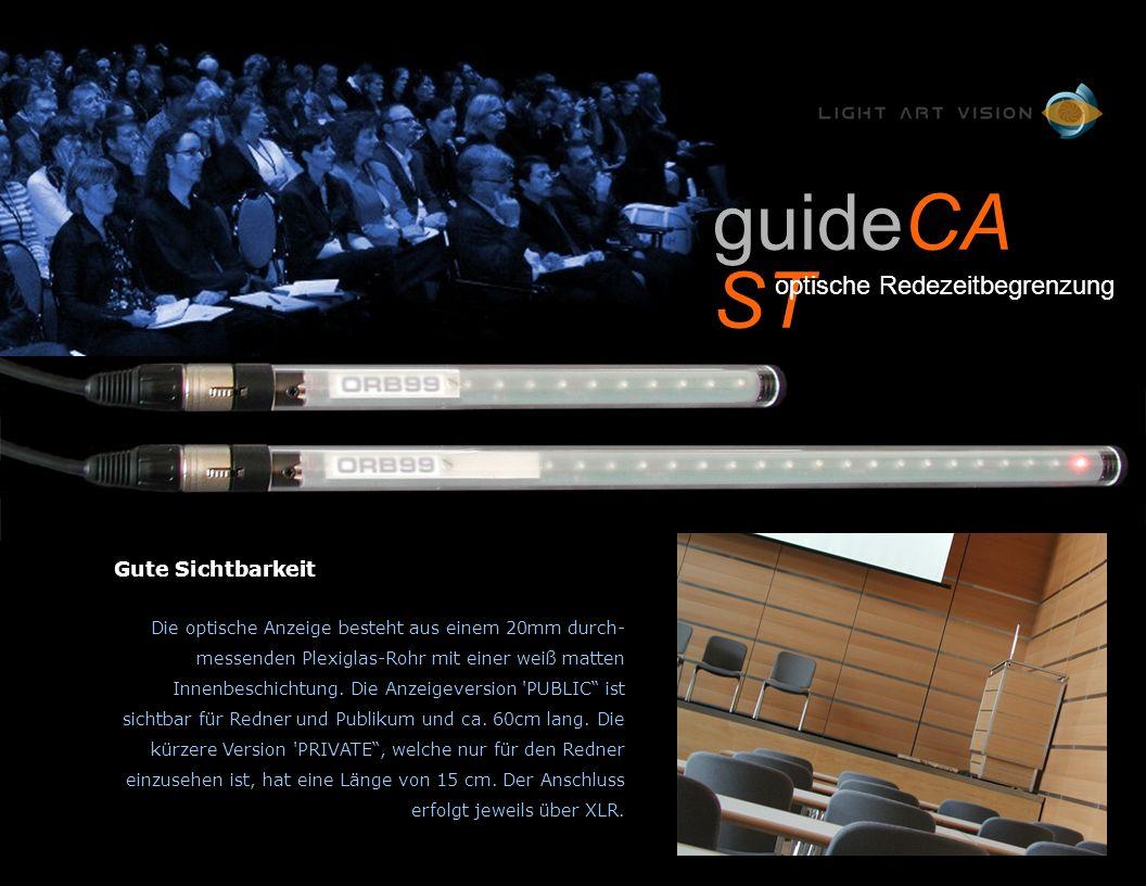 Gute Sichtbarkeit Die optische Anzeige besteht aus einem 20mm durch- messenden Plexiglas-Rohr mit einer weiß matten Innenbeschichtung.