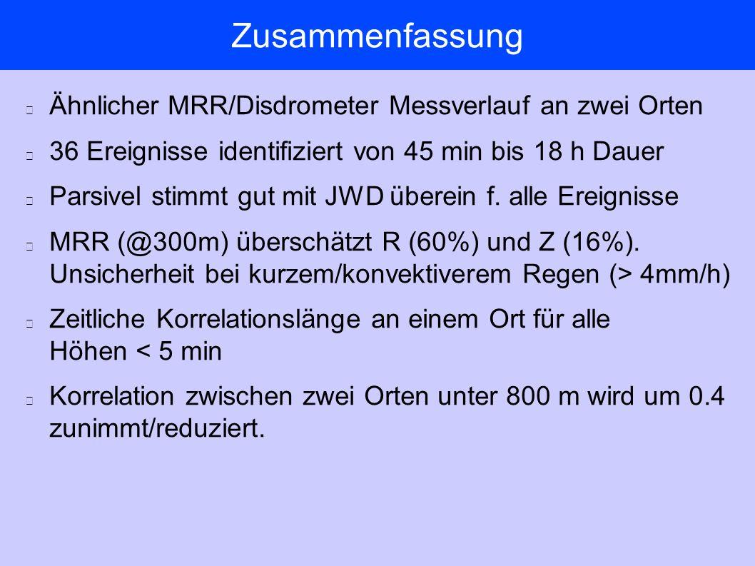 Zusammenfassung Ähnlicher MRR/Disdrometer Messverlauf an zwei Orten 36 Ereignisse identifiziert von 45 min bis 18 h Dauer Parsivel stimmt gut mit JWD überein f.