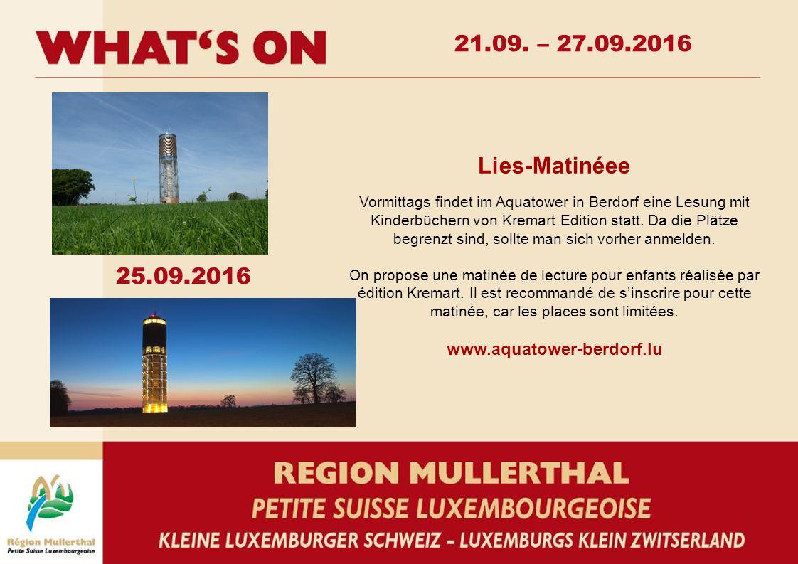 Lies-Matinéee Vormittags findet im Aquatower in Berdorf eine Lesung mit Kinderbüchern von Kremart Edition statt.