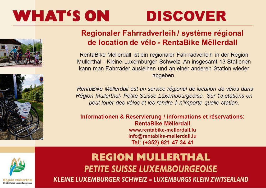 Regionaler Fahrradverleih / système régional de location de vélo - RentaBike Mëllerdall Informationen & Reservierung / informations et réservations: RentaBike Mëllerdall www.rentabike-mellerdall.lu info@rentabike-mellerdall.lu Tel: (+352) 621 47 34 41 RentaBike Mëllerdall ist ein regionaler Fahrradverleih in der Region Müllerthal - Kleine Luxemburger Schweiz.