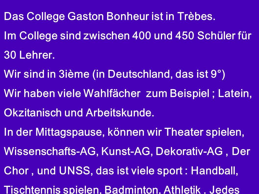 Das College Gaston Bonheur ist in Trèbes. Im College sind zwischen 400 und 450 Schüler für 30 Lehrer. Wir sind in 3ième (in Deutschland, das ist 9°) W