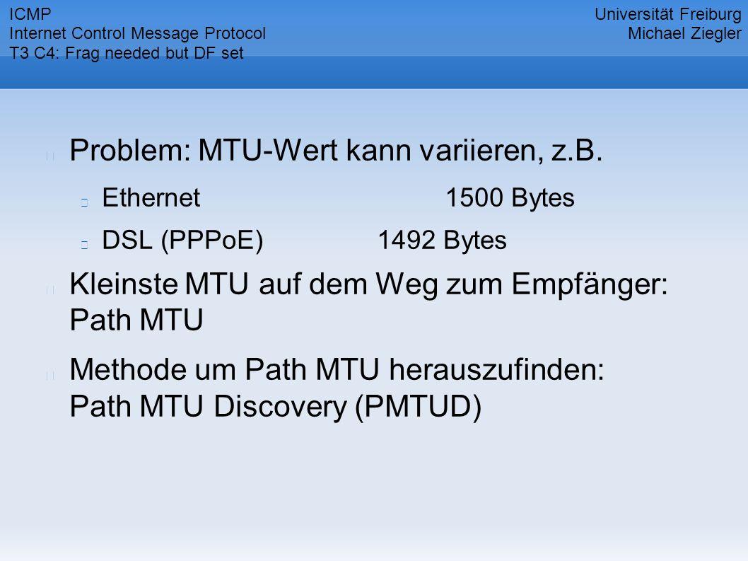 Problem: MTU-Wert kann variieren, z.B. Ethernet1500 Bytes DSL (PPPoE)1492 Bytes Kleinste MTU auf dem Weg zum Empfänger: Path MTU Methode um Path MTU h