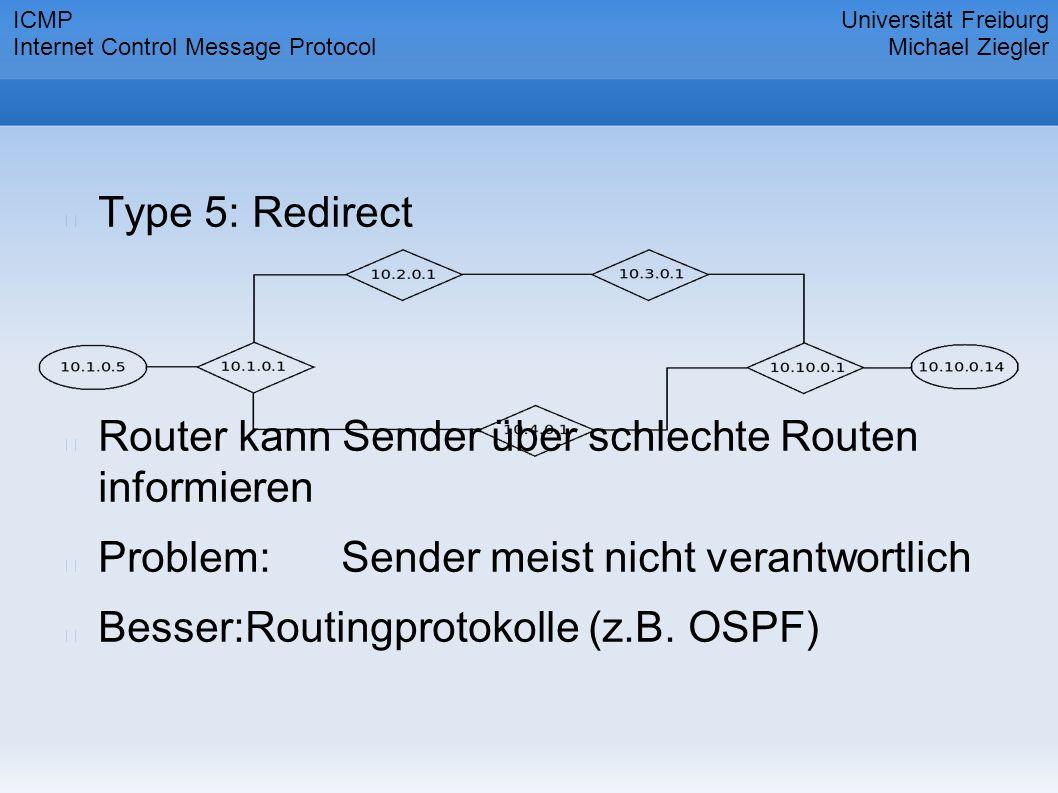 Type 5: Redirect Router kann Sender über schlechte Routen informieren Problem:Sender meist nicht verantwortlich Besser:Routingprotokolle (z.B.